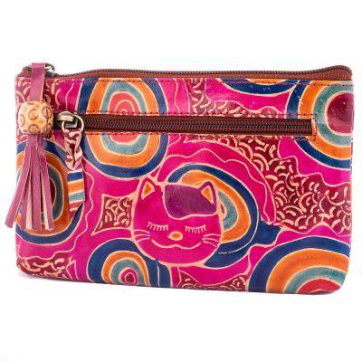 Kožená peňaženka Mačka - fialová