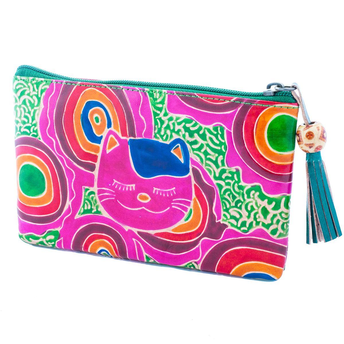 Kožená peňaženka Mačka - zelená