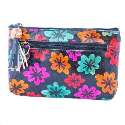 Kožená peňaženka Kvety - čierna