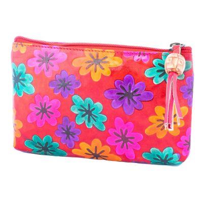 Peňaženka Kvety - červená