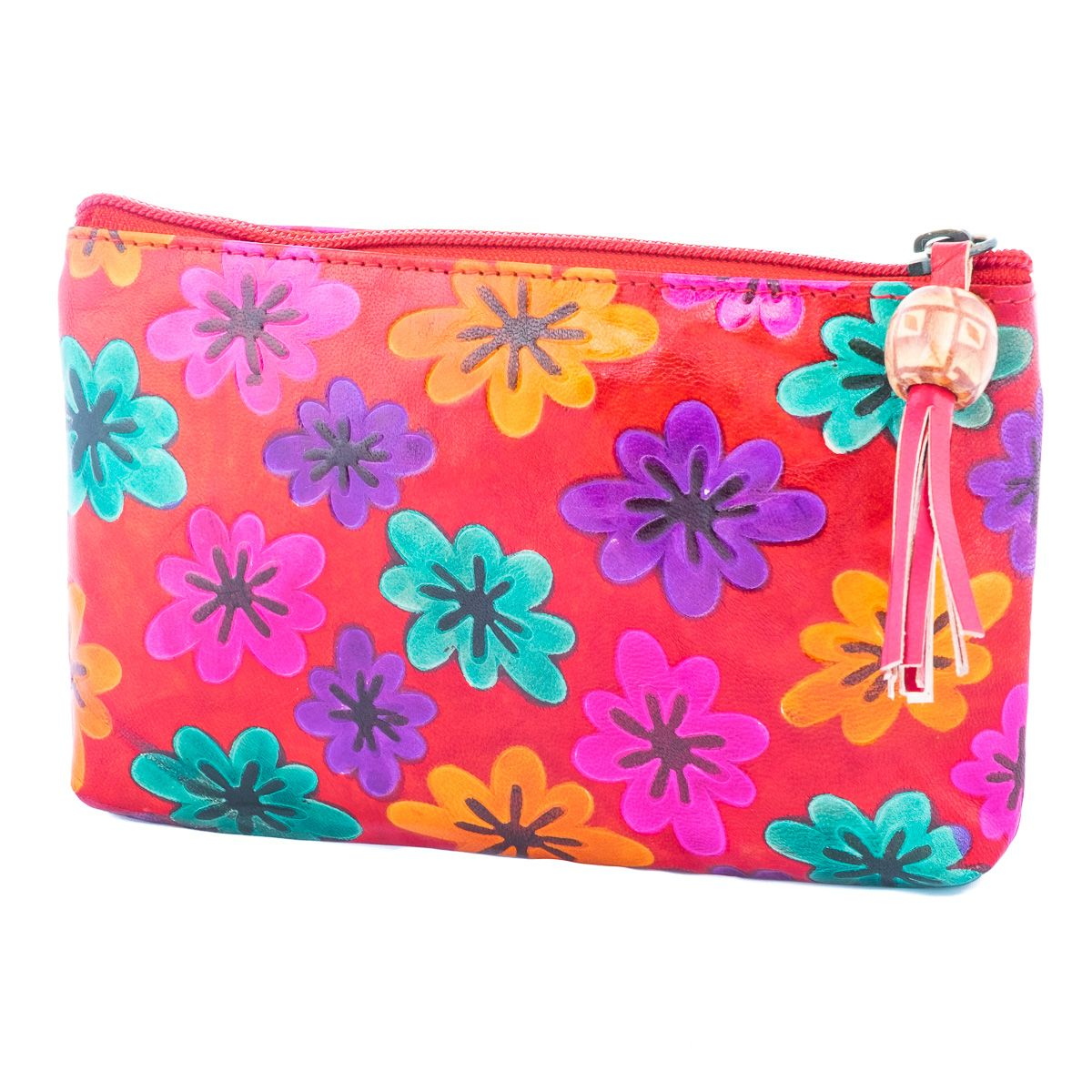 Kožená peňaženka Kvety - červená