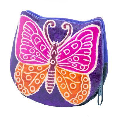 Kožená peňaženka Motýlik - fialová