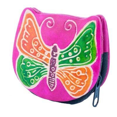 Kožená peňaženka Motýlik - ružová