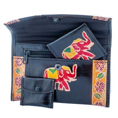 Kožená peňaženka Slon 3v1 - čierna