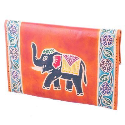 Kožená peňaženka Slon 3v1 - oranžová