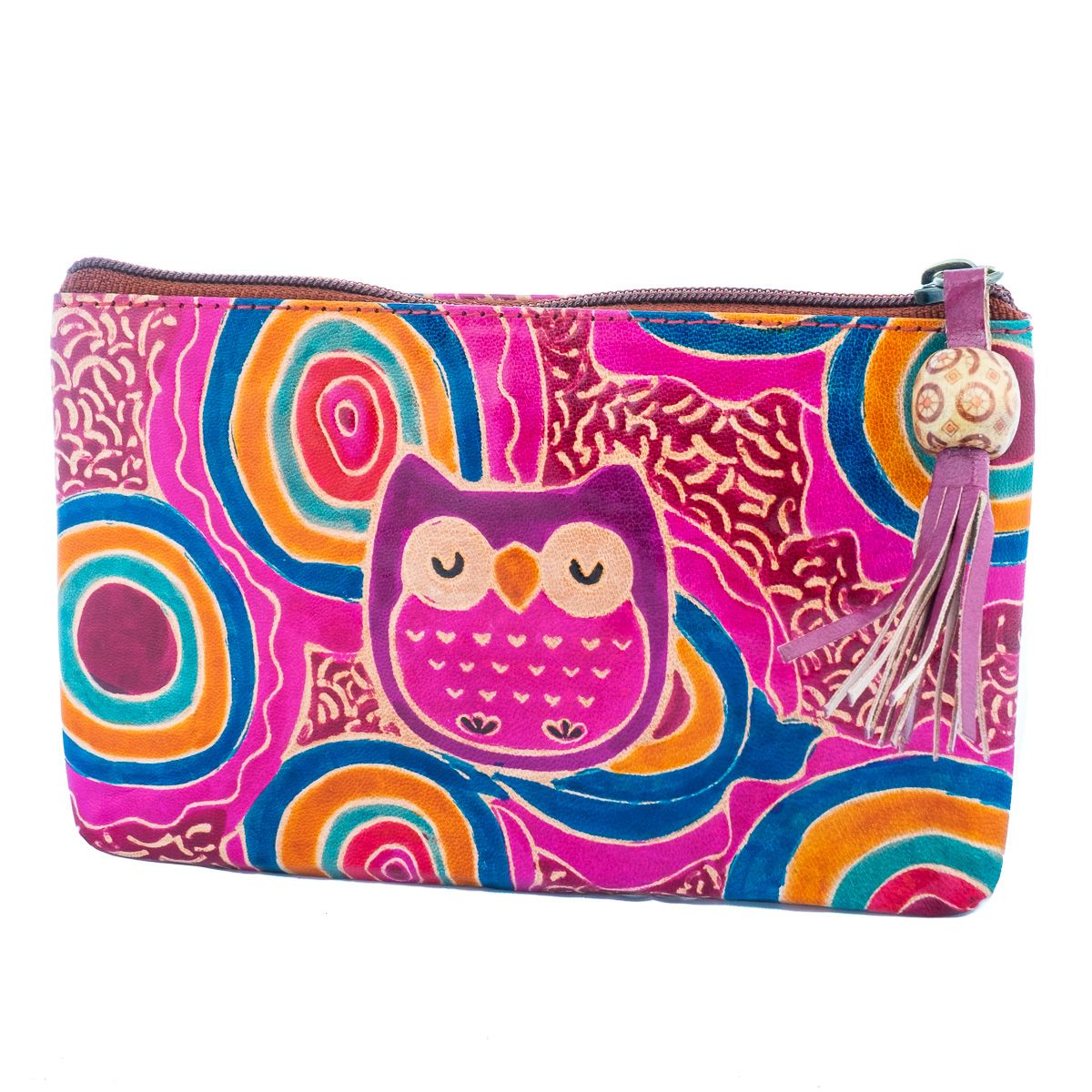 Kožená peňaženka Sova - fialová