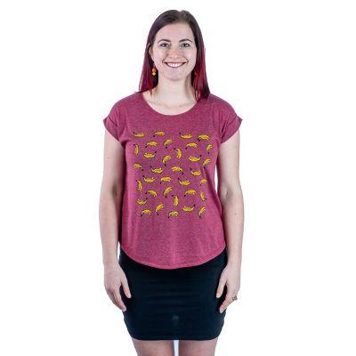 Dámske tričko s krátkym rukávom Darika Bananas Burgundy | UNI