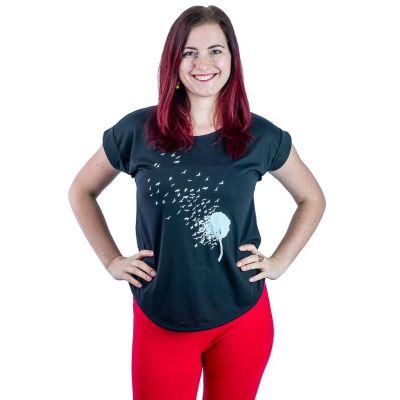 Dámske tričko s krátkym rukávom Darika Bird Dandelion Black | UNI