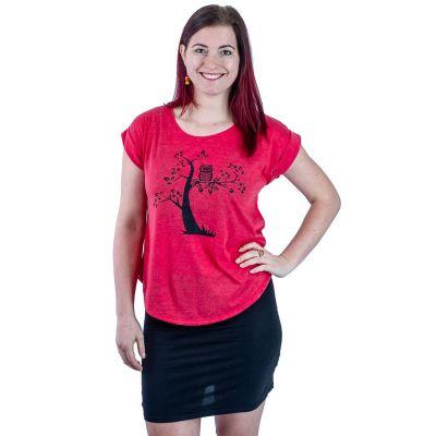 Dámske tričko s krátkym rukávom Darika Solitary Owl Red | UNI