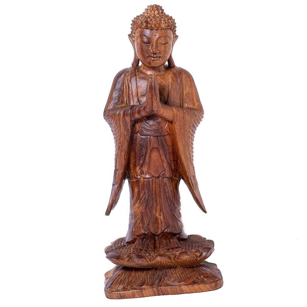 Vyrezávaná drevená soška Stojaci Budha