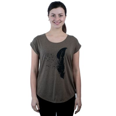 Dámske tričko s krátkym rukávom Darika Feather Khaki   UNI