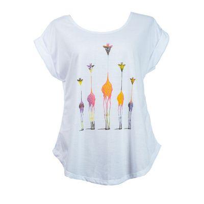 Dámske tričko s krátkym rukávom Darika Giraffe Family Multicolour | UNI