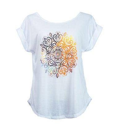 Dámske tričko s krátkym rukávom Darika Mandala White | UNI