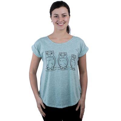 Dámske tričko s krátkym rukávom Darika Owl Family Greenish   UNI