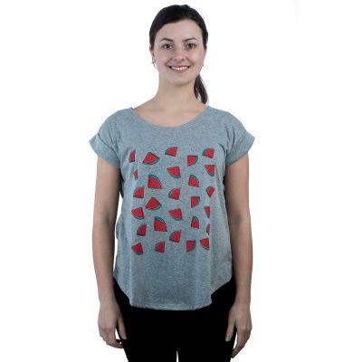 Dámske tričko s krátkym rukávom Darika Watermelons Grey | UNI