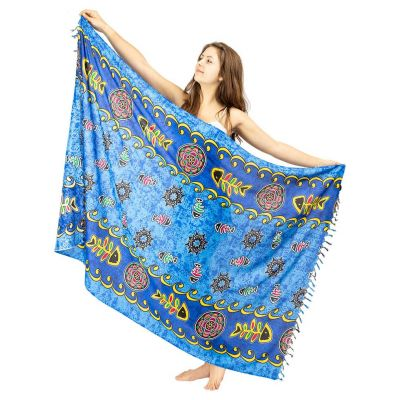 Sarong / pareo Fishbone modrý