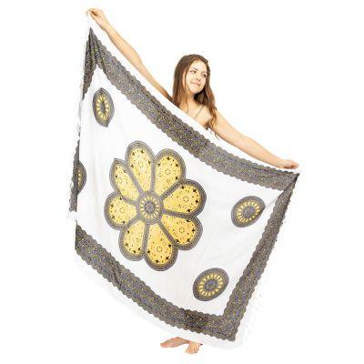 Sarong / pareo Kvetinová mandala bielo-žltý