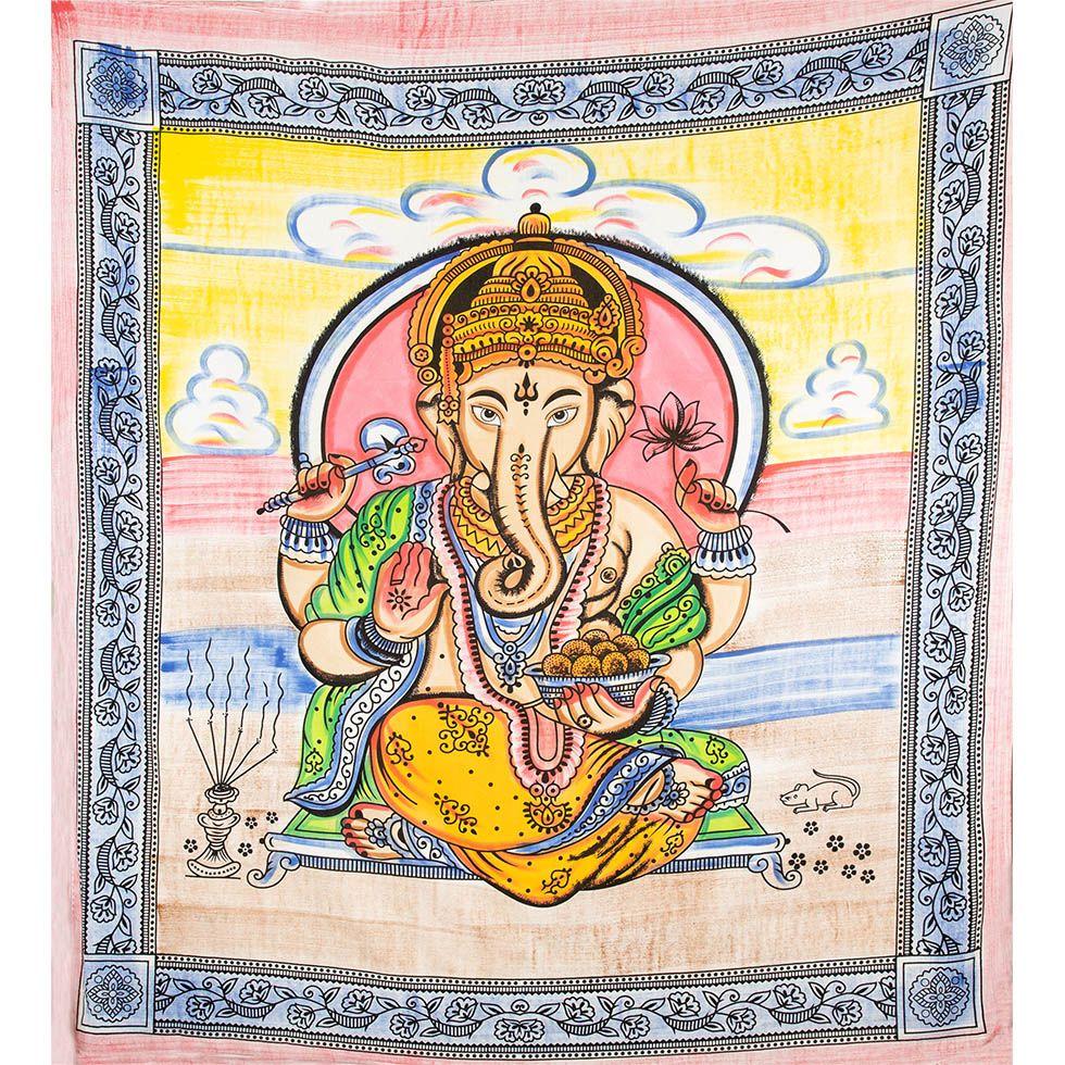 Bavlnený prehoz cez posteľ Ganéša ladhu India