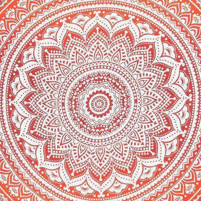 Bavlnený prehoz cez posteľ Mandala - červený India