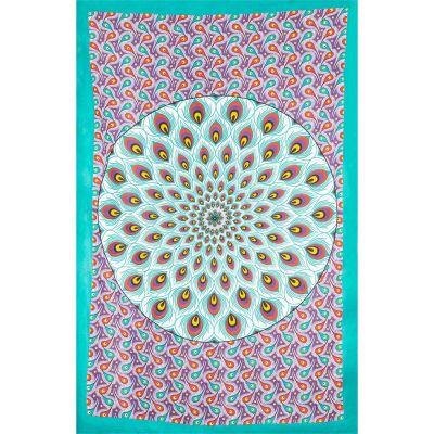 Prikrývka Pávie mandala - zeleno-fialový