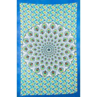 Prikrývka Pávie mandala - zeleno-modrý