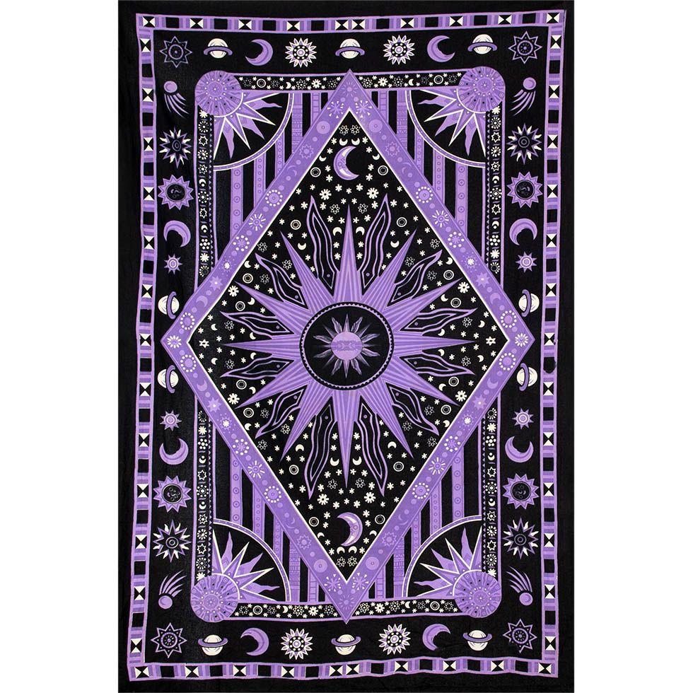 Bavlnený prehoz cez posteľ Vesmír - fialový 1 India