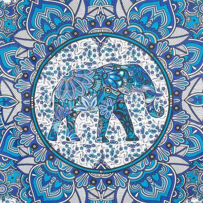 Bavlnený prehoz cez posteľ Slon v mandale - modrý