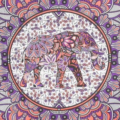 Bavlnený prehoz cez posteľ Slon v mandale - ružovo-fialový India