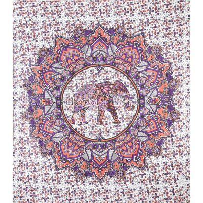 Prikrývka Slon v mandale - ružovo-fialový