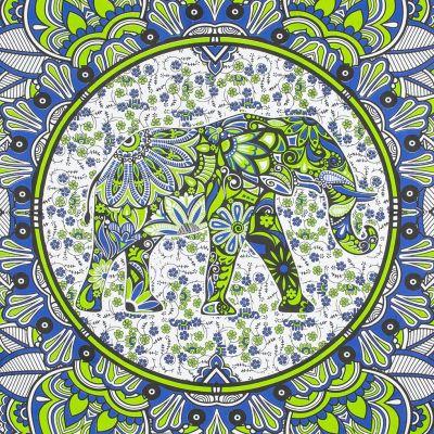 Bavlnený prehoz cez posteľ Slon v mandale - zeleno-modrý India