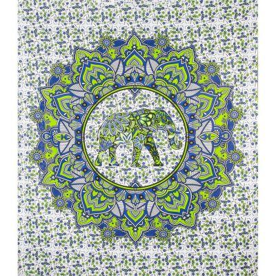 Prikrývka Slon v mandale - zeleno-modrý