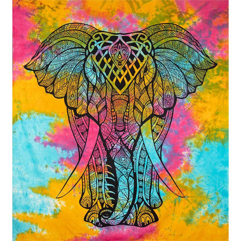 Bavlnený prehoz cez posteľ Veľký slon - pestrofarebný India