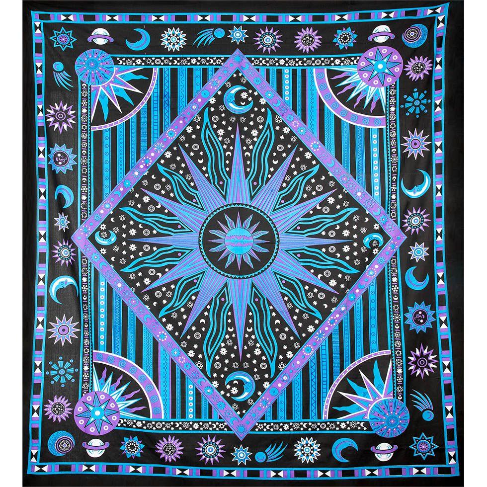 Bavlnený prehoz cez posteľ Vesmír - fialovo-modrý India