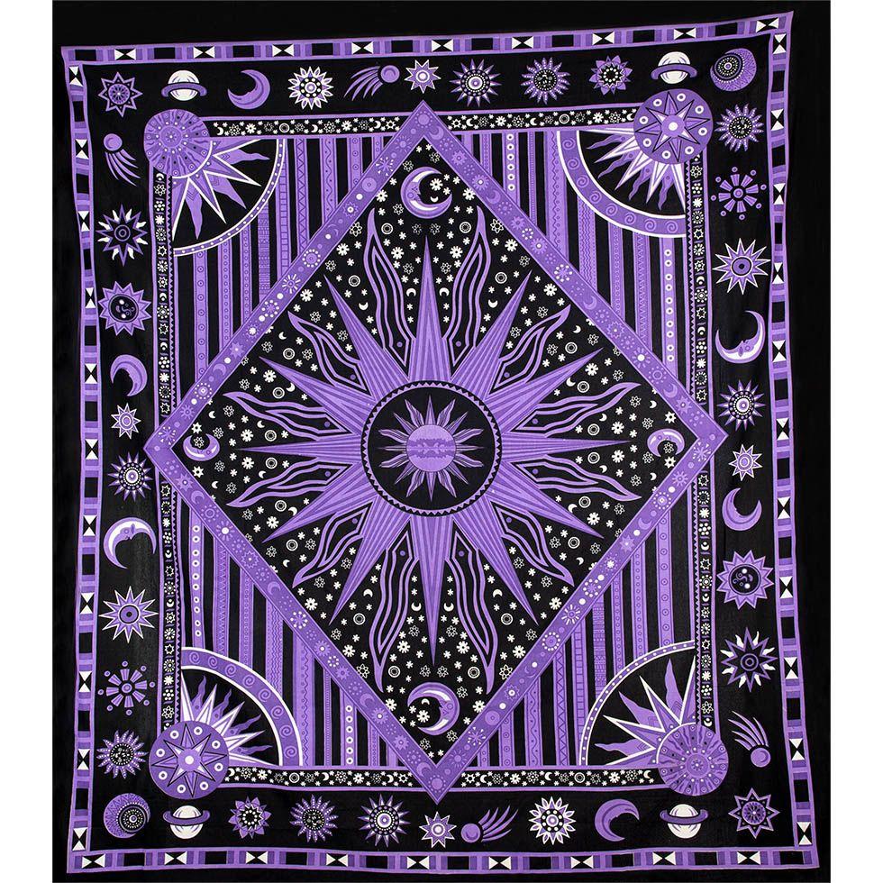 Bavlnený prehoz cez posteľ Vesmír - fialový 2 India