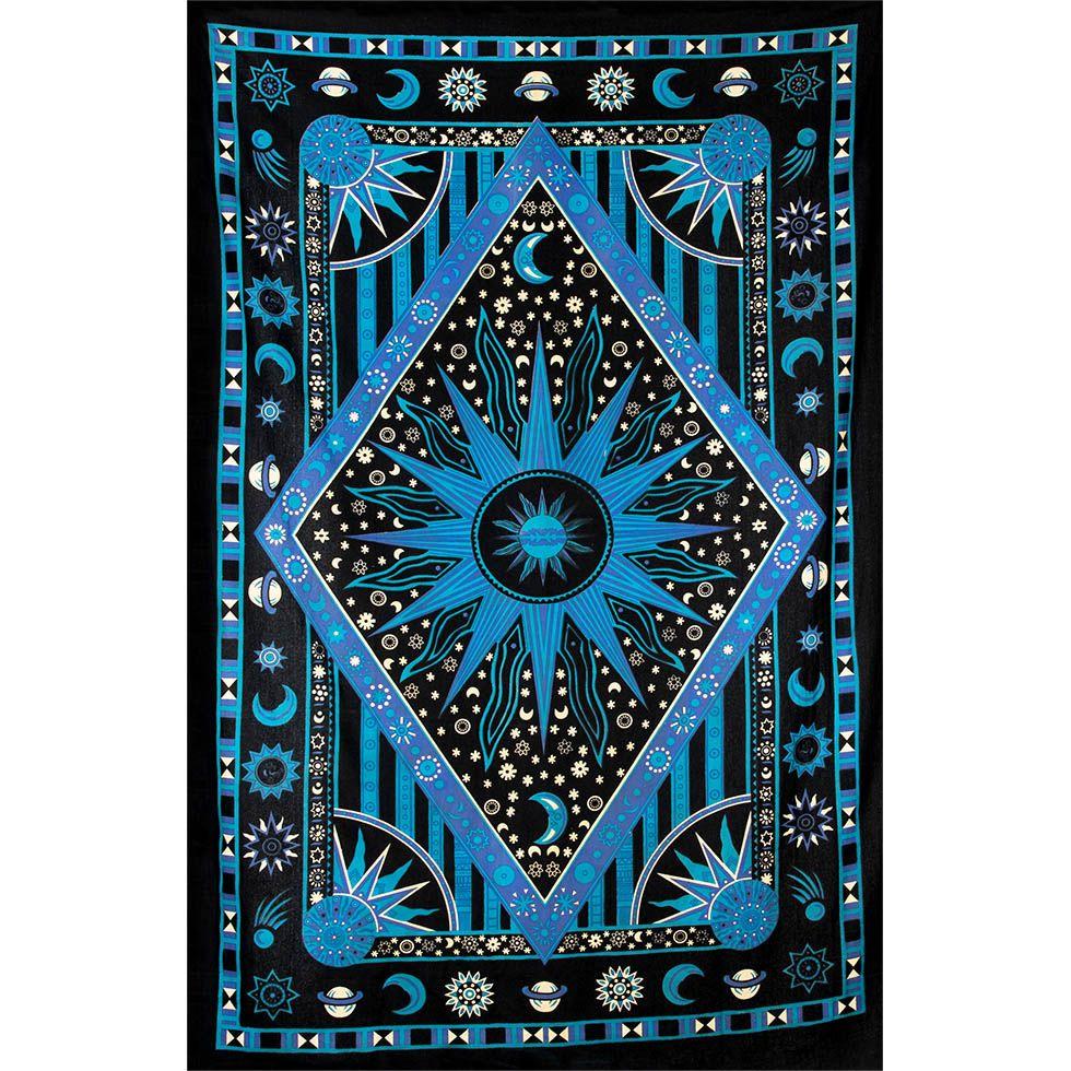 Bavlnený prehoz cez posteľ Vesmír - modrý India