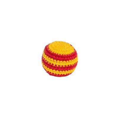 Háčkovaná loptička hekísek – Červeno-žltý