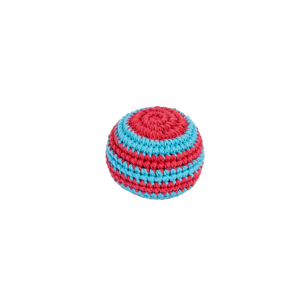 Háčkovaná loptička hekísek – Modro-červený Nepal