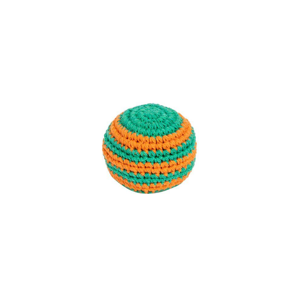 Háčkovaná loptička hekísek - oranž-zelený Nepal