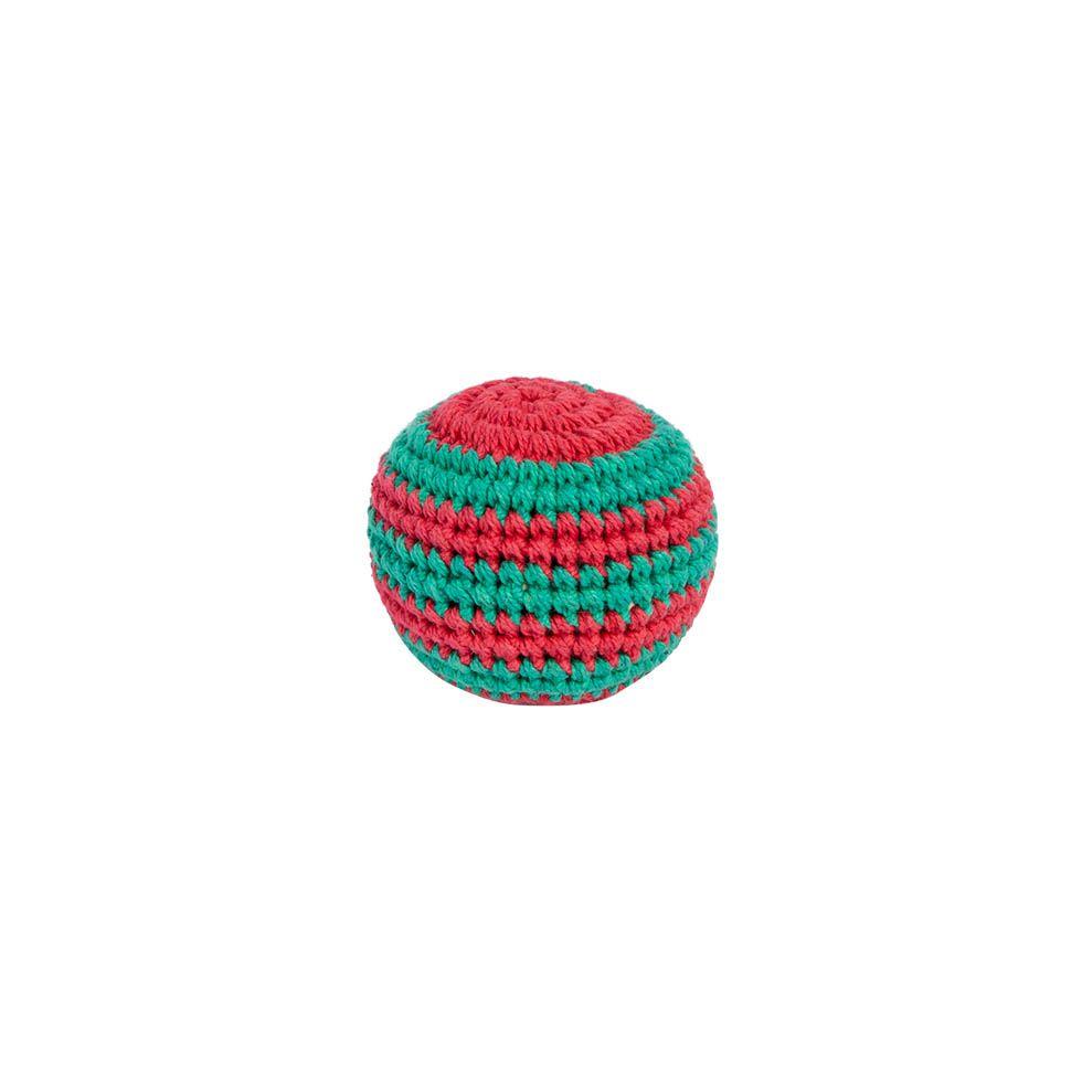 Háčkovaná loptička hekísek - Zeleno-červený Nepal