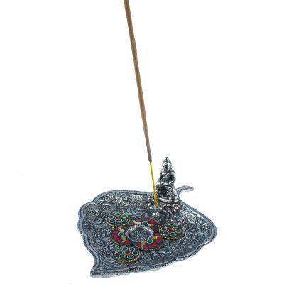 Kovový stojan na vonné tyčinky List s Budhom a mozaikou 2