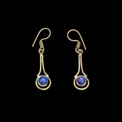 Mosadzné náušnice Dilshada | mesačný kameň, tyrkenit, lapis lazuli