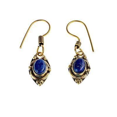 Mosadzné náušnice Marisol | lapis lazuli, biely onyx, tigrie oko