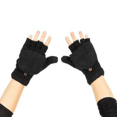 Vlnené odklápacie rukavice Butwal Black