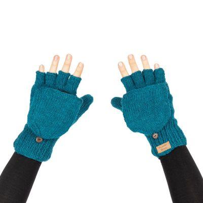 Vlnené odklápacie rukavice Butwal Blue