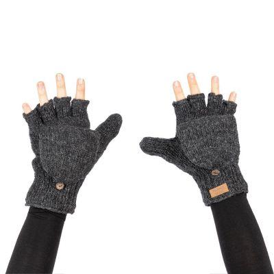 Vlnené odklápacie rukavice Butwal Dark Grey