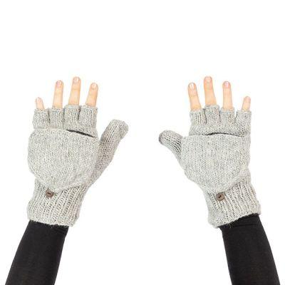 Vlnené odklápacie rukavice Butwal Light Grey