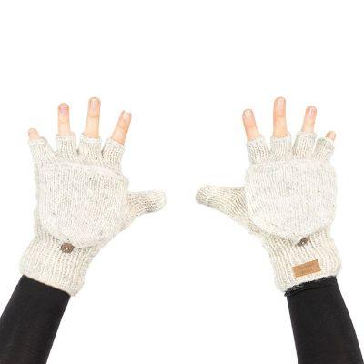 Vlnené odklápacie rukavice Butwal White