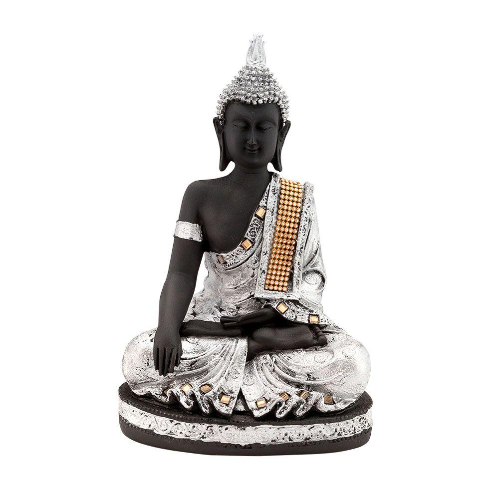 Zdobená soška zo živice Strieborný Buddha India