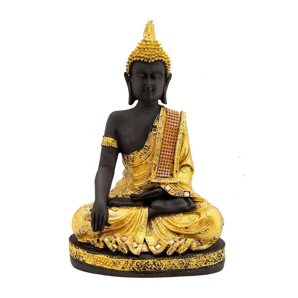 Zdobená soška zo živice Zlatý Buddha India