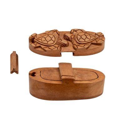 Drevená krabička na šperky Dve korytnačky Indonesia